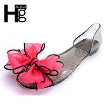 HEE GRAND Sweet Jelly Summer Women's Sandals Peep Toe Big Ribbon Bowtie Knot Transparent Material Flat Shoes Woman XWT371