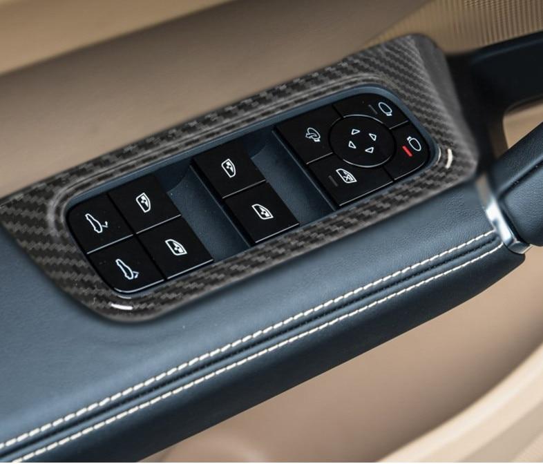ABS intérieur porte lève-vitre interrupteur panneau couverture pour Porsche Cayenne 2018 2019 voiture style cadre couverture interne Auto autocollants