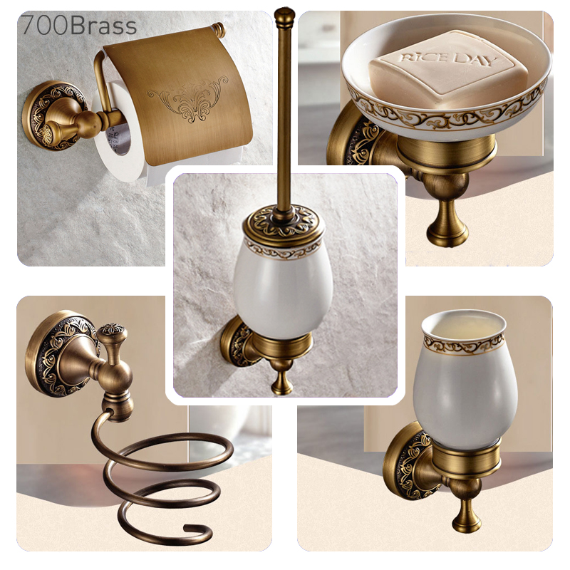 Bad Hardware Badezimmerarmaturen Faop Bad Wc-bürstenhalter Gold Antike Messing Handtuch Ring Rolle Bad Hardware Sets Papier Aufhänger Papier Halter Bad Handtuch