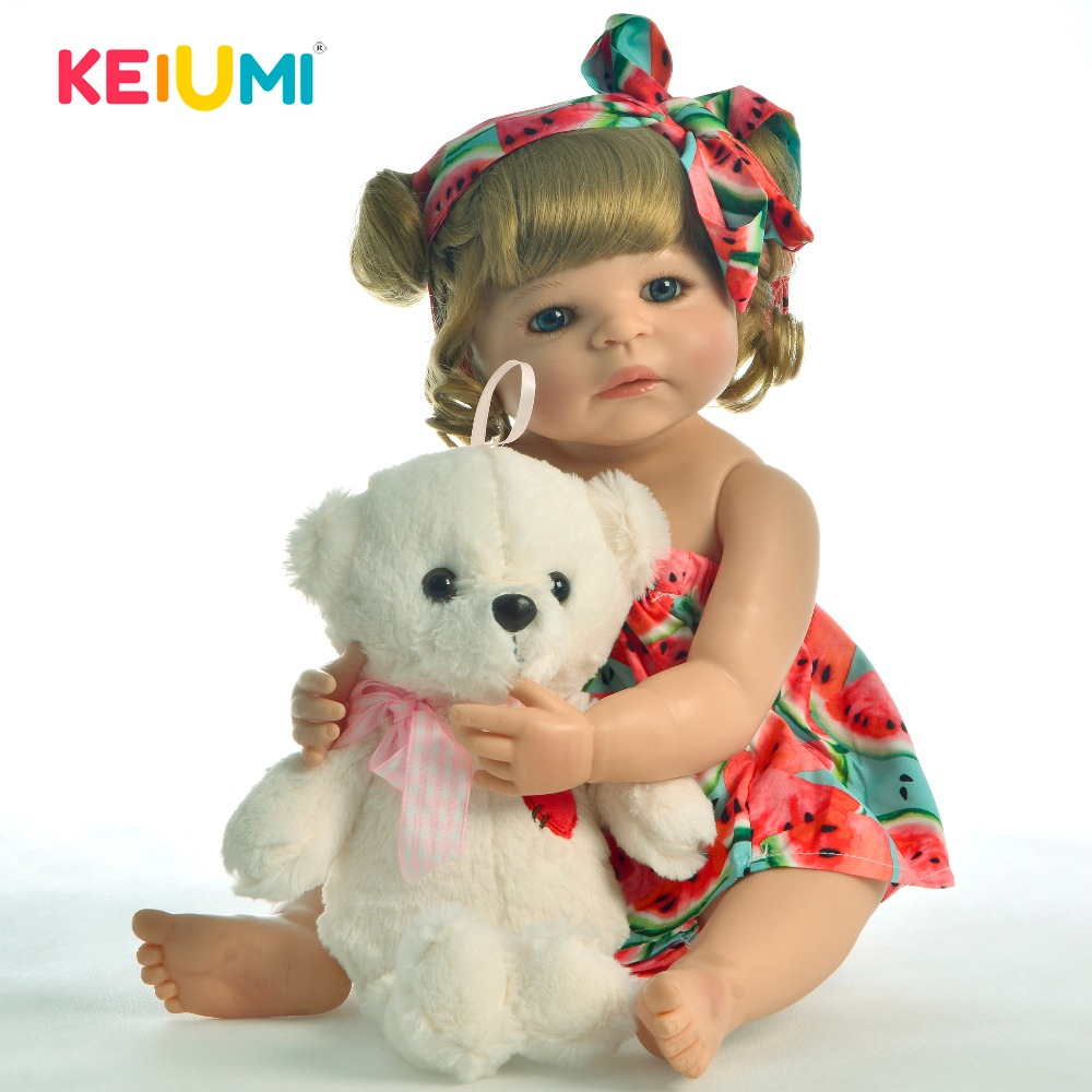 Lifestyle 22 Full Silicone Vinyl Reborn Baby Doll Girl Gold Curls Toddler Lovely Collectible Babies Dolls