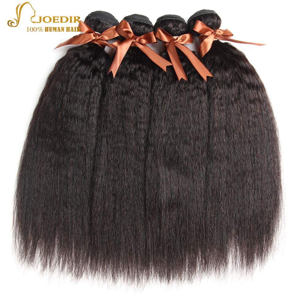 Joedir Hair Extension 4 PC Kinky Straight Hair Peruvian Hair Weave Bundles Coarse Yaki 100% Human Hair Bundles Natural Color
