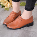 Oxford New Women's Shoes Flats Woman Mulher Sapatos Female Casual Lace-Up Ruuber Soild Plain Genuine Leather Round Toe DNF3005
