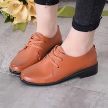 Oxford Zapatos de Los Planos de Las Nuevas Mujeres Mujer Mulher Sapatos Femenino Ocasional Con Cordones de Ruuber Soild Llanura Redonda de Cuero Genuino punta DNF3005