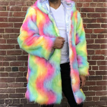 2019 New Women Men Long Hoodie Rainbow Faux Fox Fur Coat Winter High Quality Thicking Warm Multicolor Leather Jacket Windbreaker(China)