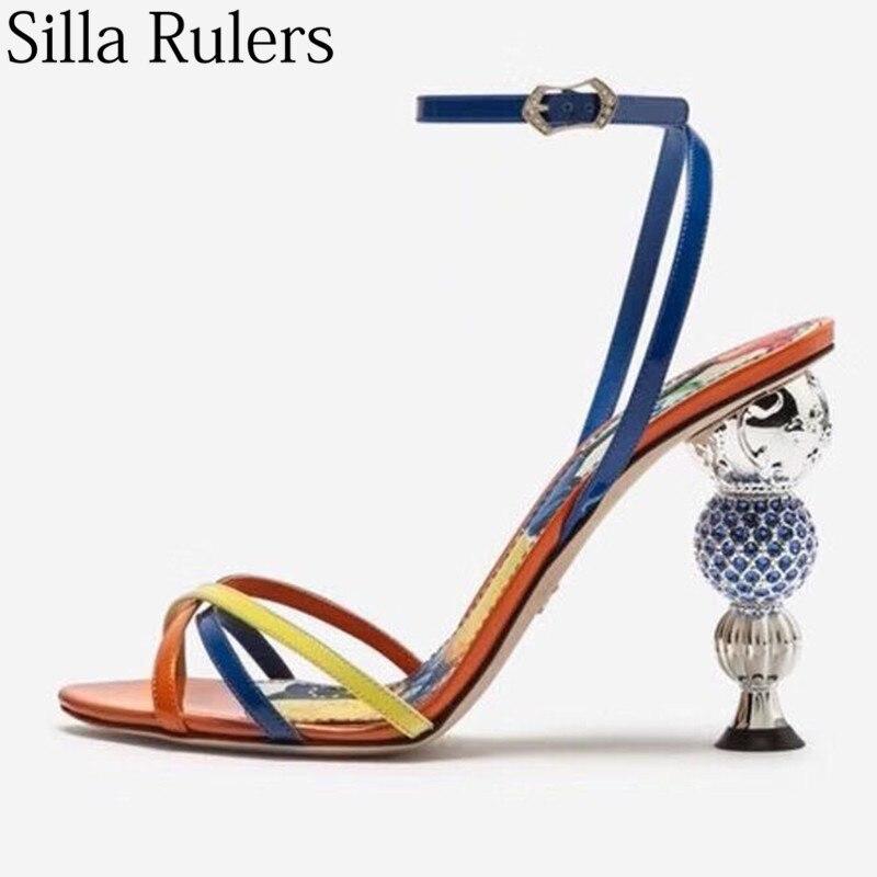 2019 새로운 라인 석 볼 발 뒤꿈치 발목 랩 샌들 여성 혼합 색상 들여다 발가락 숙녀 여름 샌들 파티 신발 여성 mujer-에서하이힐부터 신발 의  그룹 1
