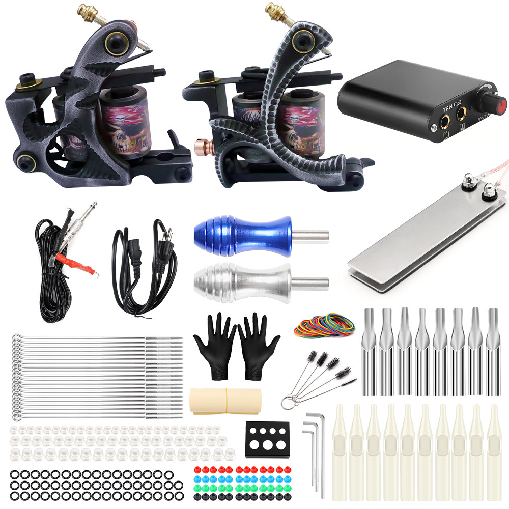 Solong Tattoo Machine Set Two Coil Machine For Liner and Shader Power Supply Foot Pedal Grip Needles Tattoo Body&Art TK201-2 stigma tattoo complete 2 coil tattoo machine kit power supply foot pedal switch needles set tk201 6