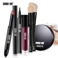 MAANGE 6pcs Set Makeup Set Tool Kit Gift Eyeliner Lipgloss Pencil Sexy Lipstick Makeup Brushes Power