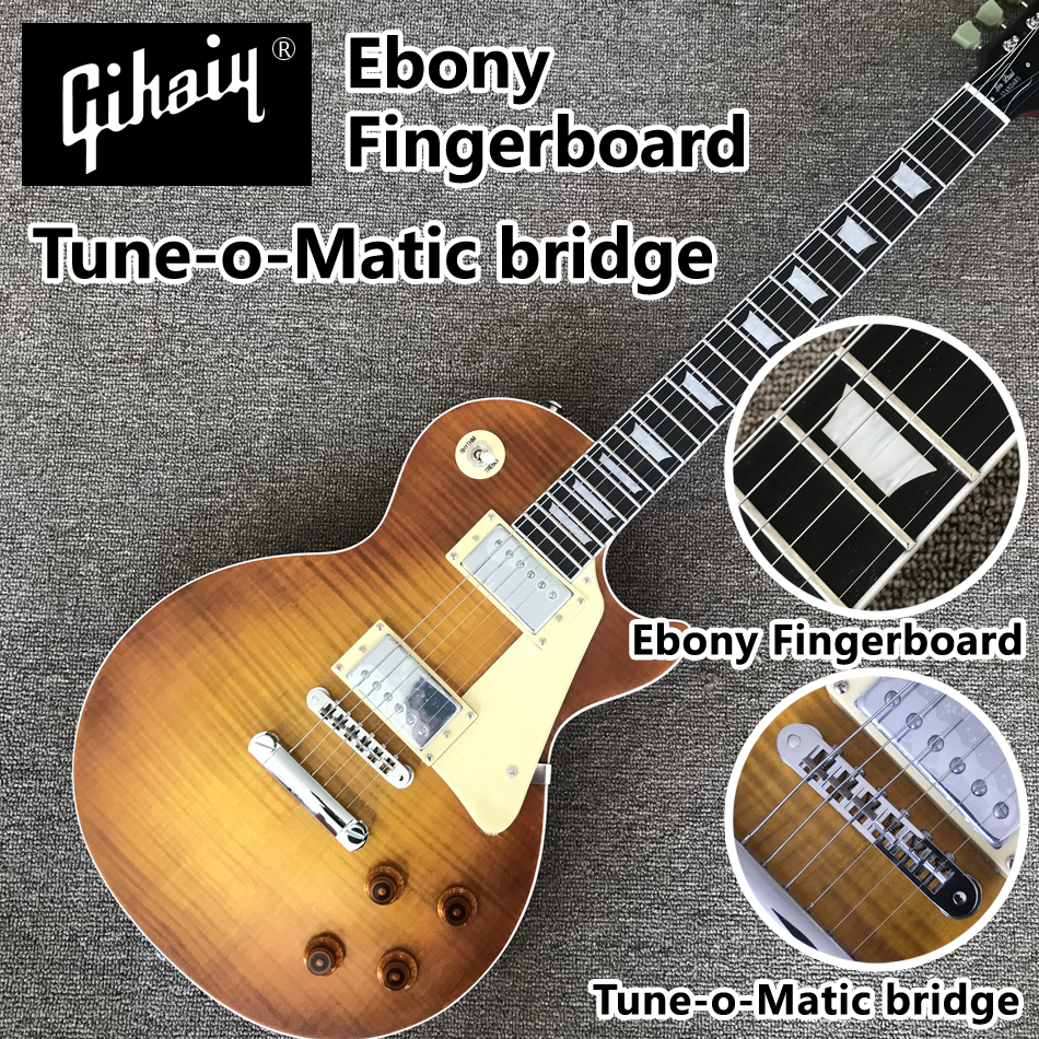 High quality hand-made electric guitar, Matte tobacco burst maple top ebony electric guitar Tune-o-Matic bridge, free shippingHigh quality hand-made electric guitar, Matte tobacco burst maple top ebony electric guitar Tune-o-Matic bridge, free shipping