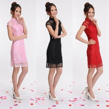 2 PCS Lace Cheongsam Short Sleeve Chinese Traditional Dress Women Silm Qipao for Evening Party Singer Costume For Stage 89
