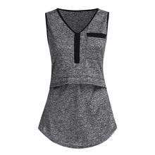 Женские топы для беременных Nusring с v-образным вырезом без рукавов жилет однотонная одежда рубашки для беременных Ropa материнская блузка Moda Allaitement