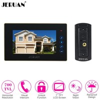 JERUAN Wired 7 Inch Color Monitor Touch Key Vdeo Door Phone Intercom System Kit Metal 700TVL Night Vision Camera FREE SHIPPING
