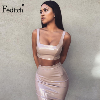 Feditch 2017 Sexy PU Leather Dress Women Two Piece Dress Autumn Bodycon Spaghetti Strap Party Women Dresses Lady Vestidos