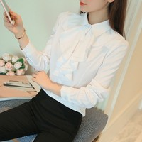 oioninos Women Fashion Korean Style Ladies Office Work Wear Blouse Elegant Ruffles Long Sleeve White Blusas Bodysuit Shirt