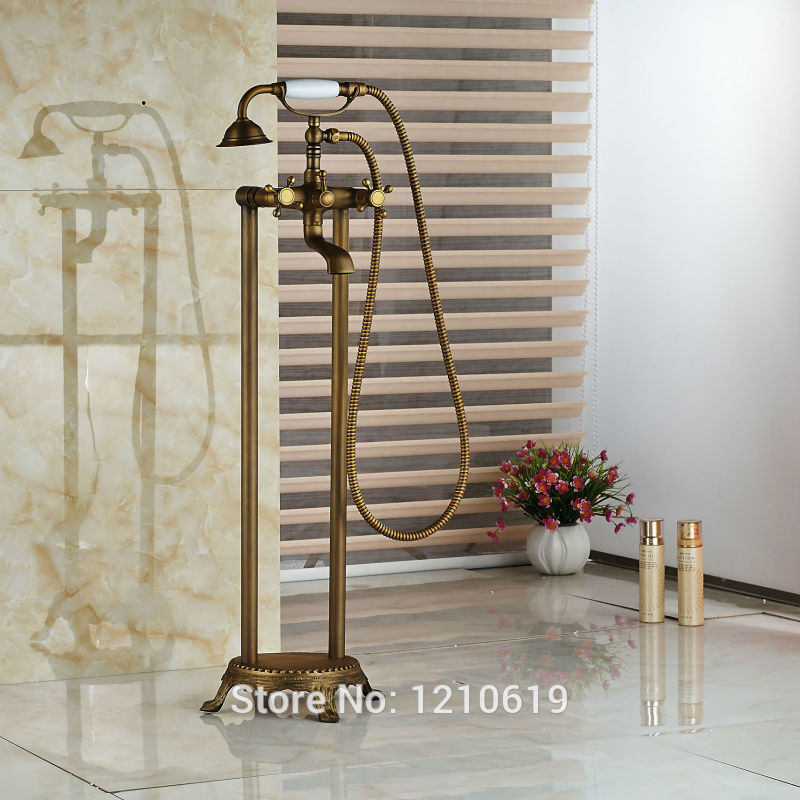 Newly Floor Type Bathroom Shower Tub Faucet w/ Ceramic Handheld Shower Antique Brass Bathtub Mixer Tap Dual Handles antique brass telephone style handheld shower head dual handles bath tub mixer tap wall mounted bathroom faucet wtf312