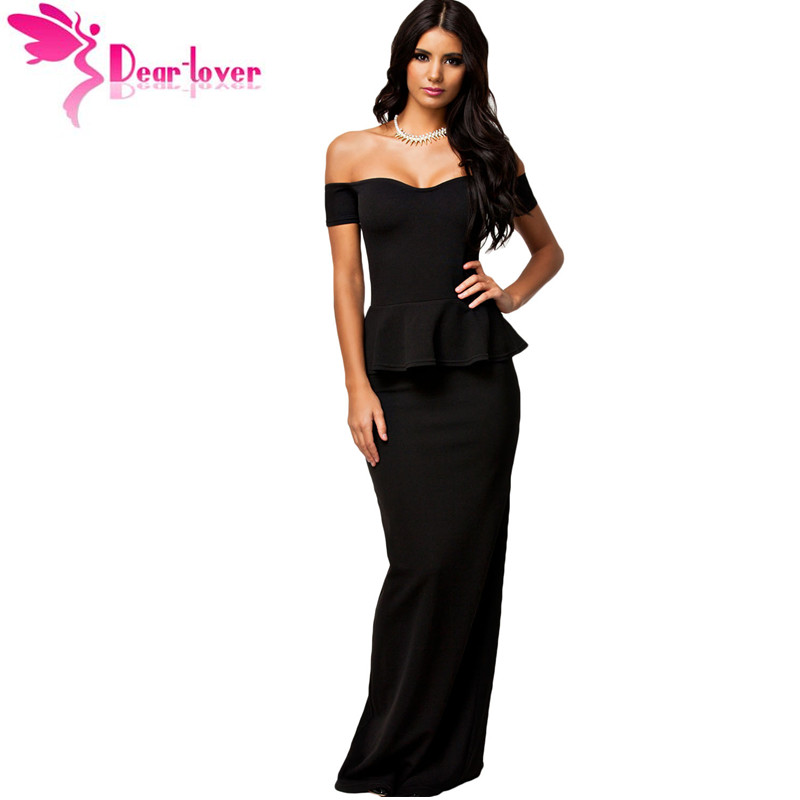 Dear Lover Hot vestidos de festa longo Black short Sleeve Peplum Maxi Dress With Drop shoulder plus size LC6244 vestido de festa
