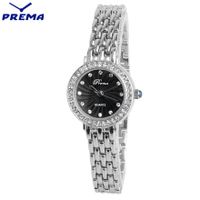 PREMA Quartz Ladys Watch Women Stainless Steel Montre Femme Fashion Wrist Women Watches Diamond Relogio Feminino Waterproof