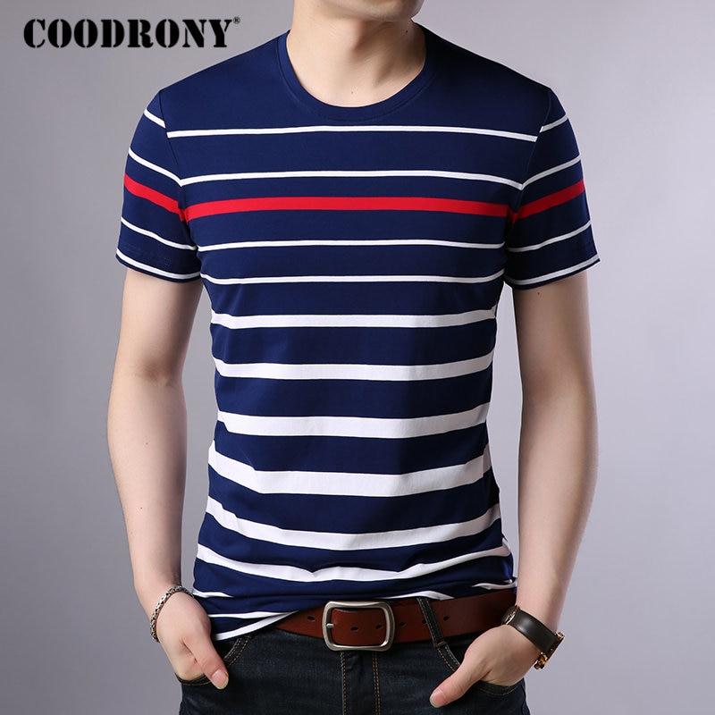 COODRONY Cotton T Shirt Men 2019 Spring Summer Streetwear Short Sleeve T-shirt Men Fashion Striped O-Neck Tee Shirt Homme S95015