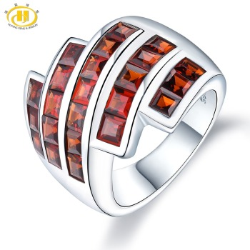 5.06 Carat Natural Garnet Wedding Rings Solid 925 Sterling Silver Gemstone Ring Fine Jewelry Special Design Gifts for Women