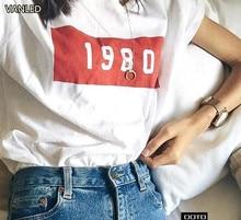 Новый летний Повседневное краткое номер с коротким рукавом Для женщин Винтаж Классическая футболка хлопковая футболка