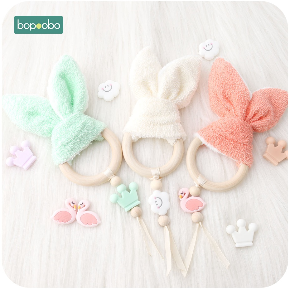 Bopoobo 1pc Wooden Bunny Comforting Towel Baby Nursing AccessoriesSafe Toys Gifts For The New Year Baby Teether