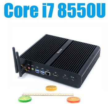 Hot Sale 8th Gen Fanless Mini PC Intel Core i7 8550U Windows Linux HTPC TV Box Core i7 7500U UHD 4K Micro Desktop Computer