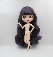 Blygirl,Blyth doll,Dark purple curly hair, 1/6 nude doll, 19 joints, new face shell doll, can make up for her blygirl blyth doll black curly doll no 114bl58 joint body 19 joints white body