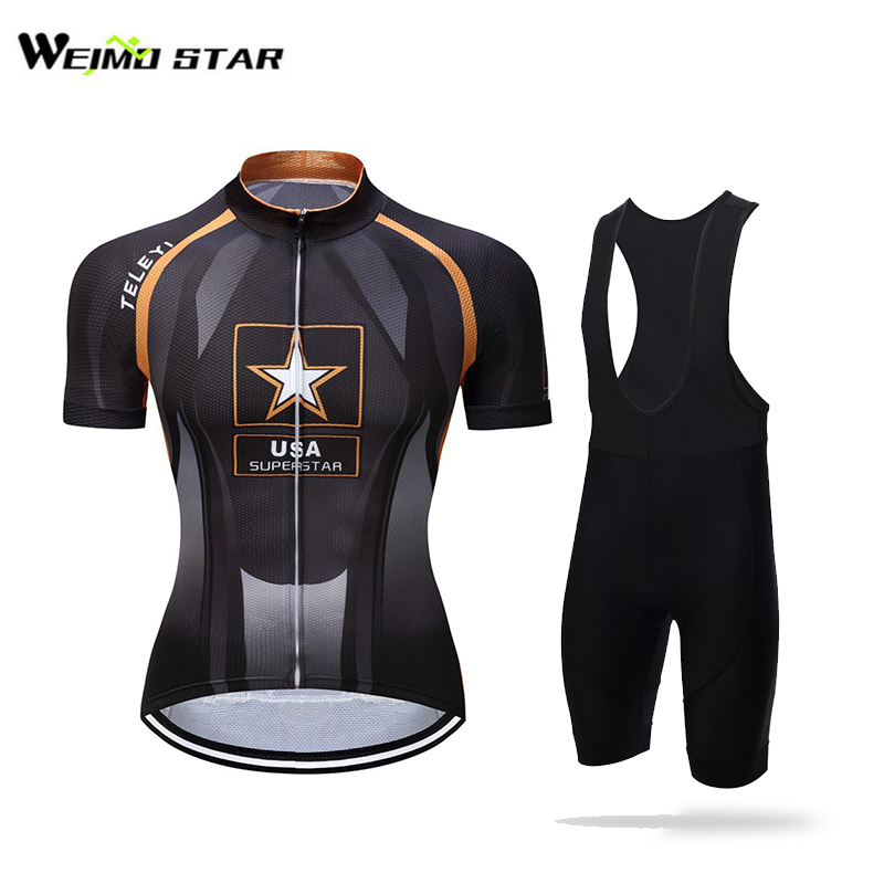 USA SuperStar  Cycling Jersey WEIMOSTAR Men Short Sleeve Biking Summer Bicycle Clothes Wear GEL Breathable Pad Bib Shorts Suit nuckily ma008 mb008 men short sleeve bicycle cycling suit