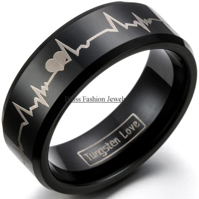 8mm Black Tungsten Carbide Rings with Heartbeat Shaped for Men Hight quantity Engagement Wedding Bands Size 5-16