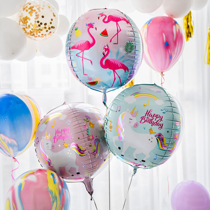 1pcs new 22inch 4D Round unicorn flamingo dinosaur Foil Balloons wedding Birthday Party Decor Helium Inflatable Globos supply