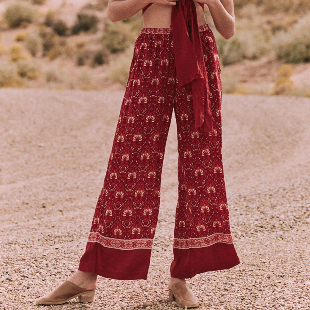 2018 Summer Oversize Print   Pants   2018 Summer Red High Waist Trousers Women   Pant   Boho Hippie Casual Wide Leg   Pants     Capris   Female