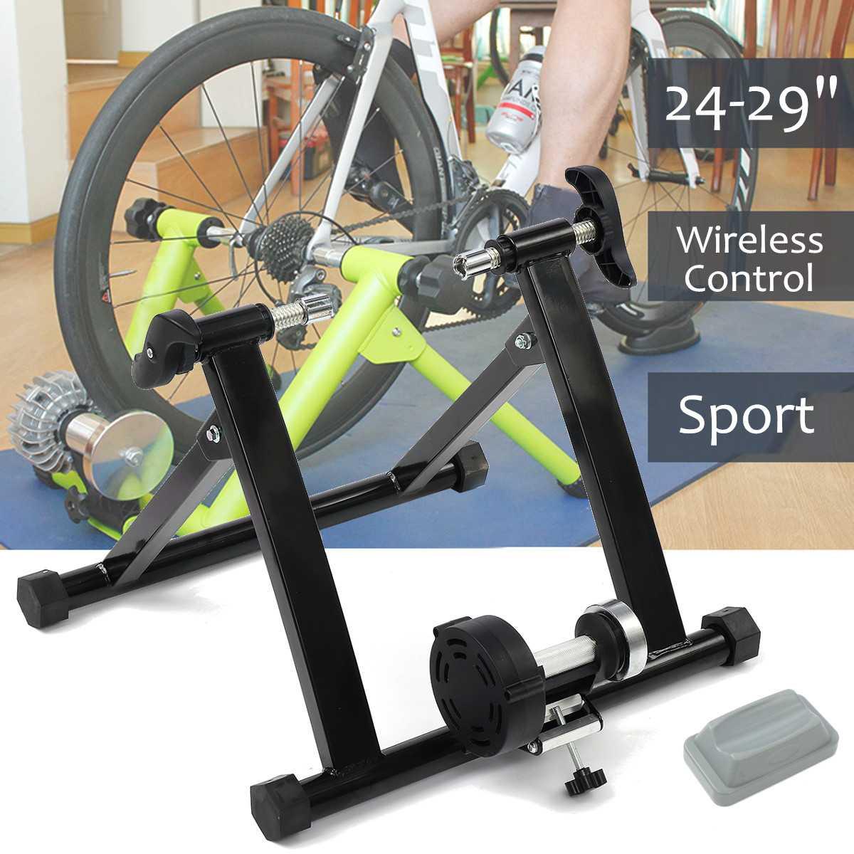 Indoor Bicycle Bike Trainer 4-29 Inch Wireless Black Indoor Bicycle Bike Trainer Exercise Fitness Stand
