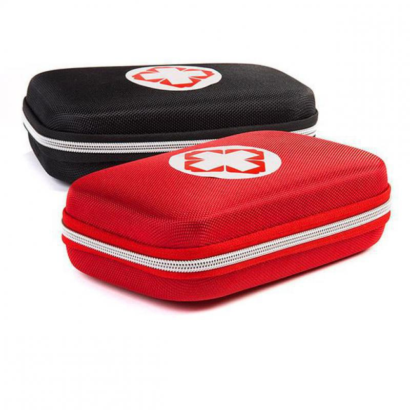 Vermelho e preto caixa de primeiros socorros kits sobrevivência armazenamento de drogas caixa viagem veículo emergência médica saco kit acampamento
