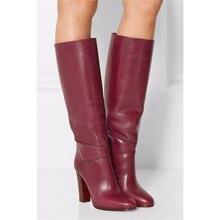 Новинка; винно-красные зимние сапоги до колена на не сужающемся книзу высоком массивном каблуке; женские дизайнерские модельные туфли; женские высокие сапоги-гладиаторы с круглым носком
