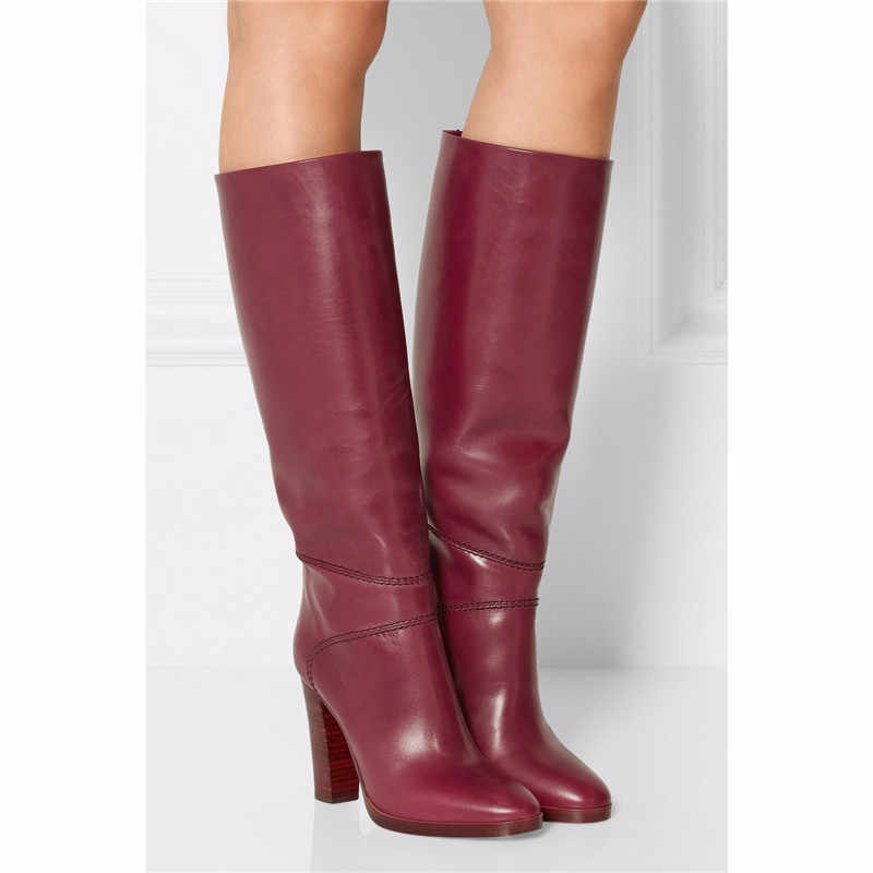 New Wine Red Winter Chunky High Heels Knee High Boots Women Design Lady  Dress Shoes Women 70ba1c7c68c7