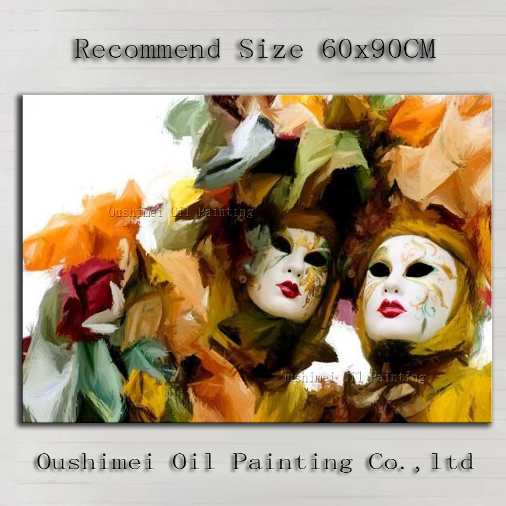 Superb Artist Hand-painted High Quality Modern Abstract Masquerade Mask Oil Painting For Wall Decoration Mask Oil Painting