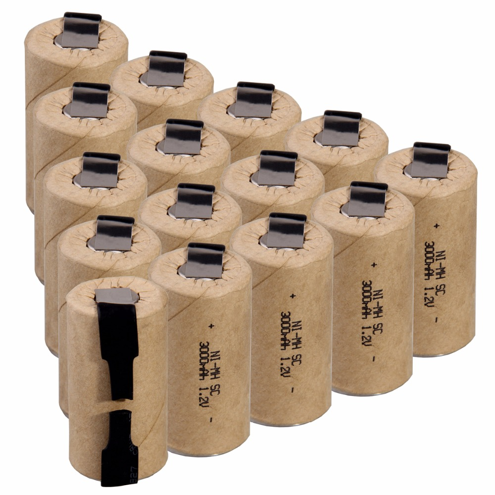 High Power 15 Pcs SC 3000mah 1.2v Battery NIMH Rechargeable Batteries For Electric Screwdriver Electric Drill Power Tools