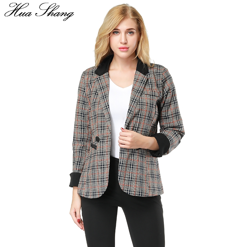 Hua Shang Women Plaid Blazers And Jackets Suit Ladies ...