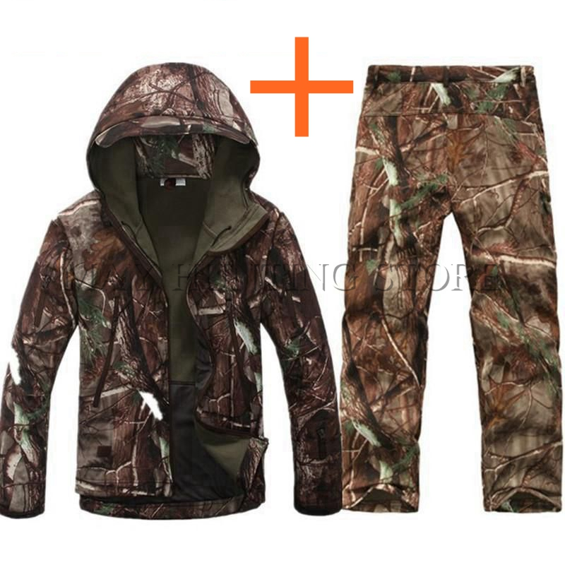 Leaves Camouflage Army Clothing Waterproof Tactical Lurker Shark skin Soft Shell Suit Set Jacket + Pant Free Shipping lurker shark skin soft shell v4 military tactical jacket men waterproof windproof warm coat camouflage hooded camo army clothing