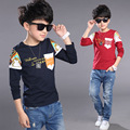 Высокое качество мальчики футболки дети мальчик мода отпечатано с длинным рукавом отпечатано 100% хлопок футболка свободного покроя детская одежда топы