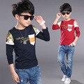 Superior calidad de los muchachos camisetas Kids Boy moda impreso de manga larga impreso 100% la camiseta del algodón Casual niños tapas de la ropa