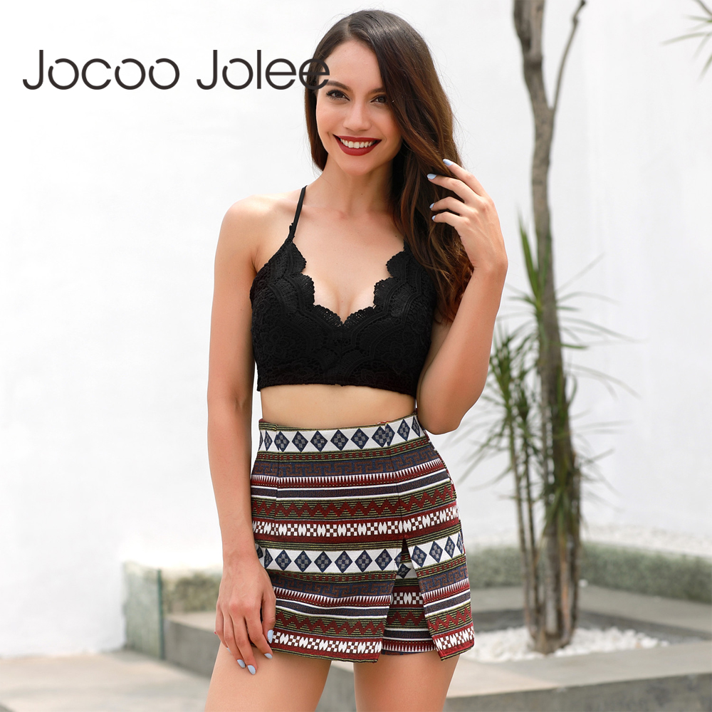 Jocoo Jolee Geometric Pattern Shorts Vintage Pencil Short Skirts Women's High Waist Boho Mini Casual Skirt Shorts 2018 New
