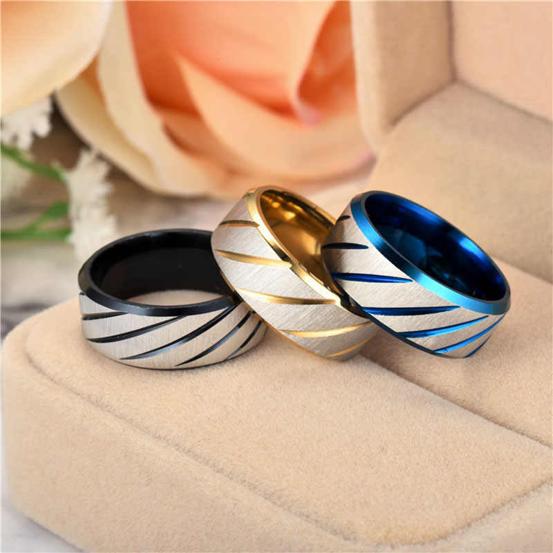 Anillos antiguos de 8mm para hombres mujeres Oro Negro Azul nudillo Metel anillo de moda Acero inoxidable joyería regalos US tamaño 6-13 J15