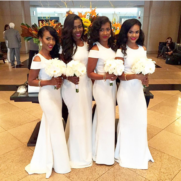 7d4e6408534 White African Mermaid Bridesmaid Dresses 2018 Fashion Short Sleeves Wedding  Guest Dresses Sexy Long Maid Of Honor Formal