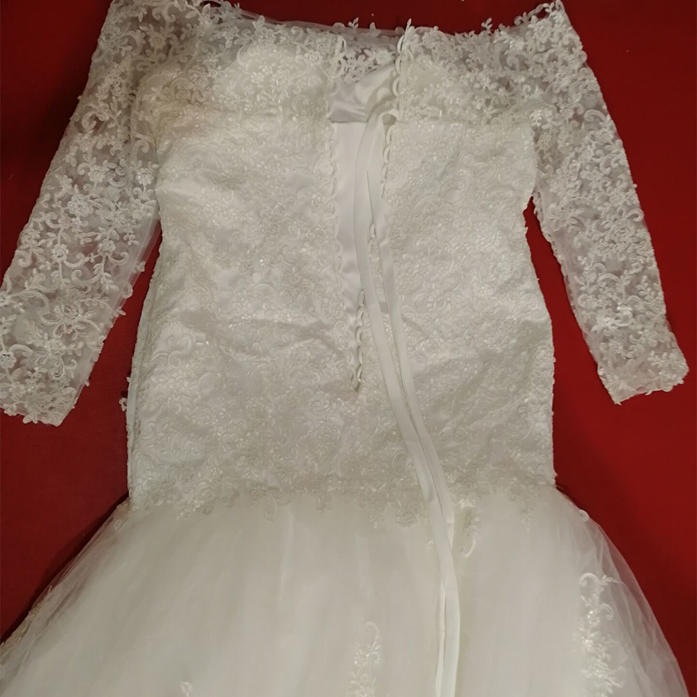 Image 5 - Fansmile New Long Sleeve Vestido De Noiva Lace Wedding Dress 2019 Customized Plus Size Pearls Bridal Wedding Gowns FSM 512M-in Wedding Dresses from Weddings & Events
