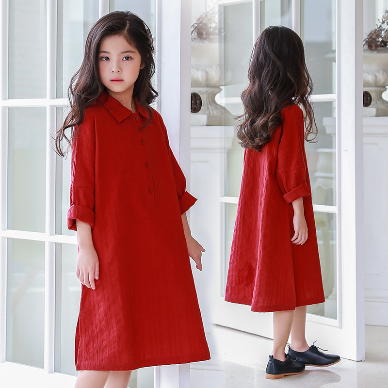 Girls Casual Long Sleeve Shirt Dress Loose Girls Cotton -7875