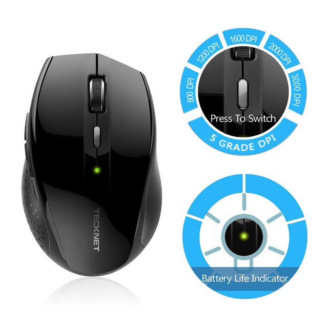 TeckNet Alpha Ergonomic Wireless Mouse 2.4GHz 1