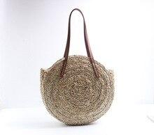 Women Hand Woven Round Straw Bags