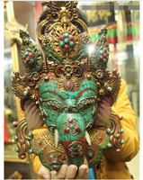 15Tibet Buddhism Temple Wood Turquoise Gem Lucky elephant Mask Buddha Statue Brass Fine wedding Arts Crafts