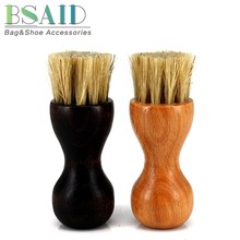 BSAID Cylindrical Shape Shoe Brush Wooden Handle Shoes Shine Pig Hair Brush Polish Bristle Horse Cleaning Wipe Buffing Brushes(China)