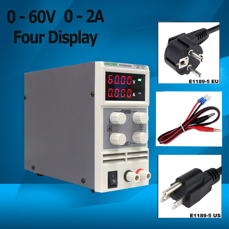 Mini LED Digital Adjustable DC Power Supply 0-60V 0-2A Four display, Switching Power Supply 0.01V/0.001A laboratory cps 6011 60v 11a digital adjustable dc power supply laboratory power supply cps6011